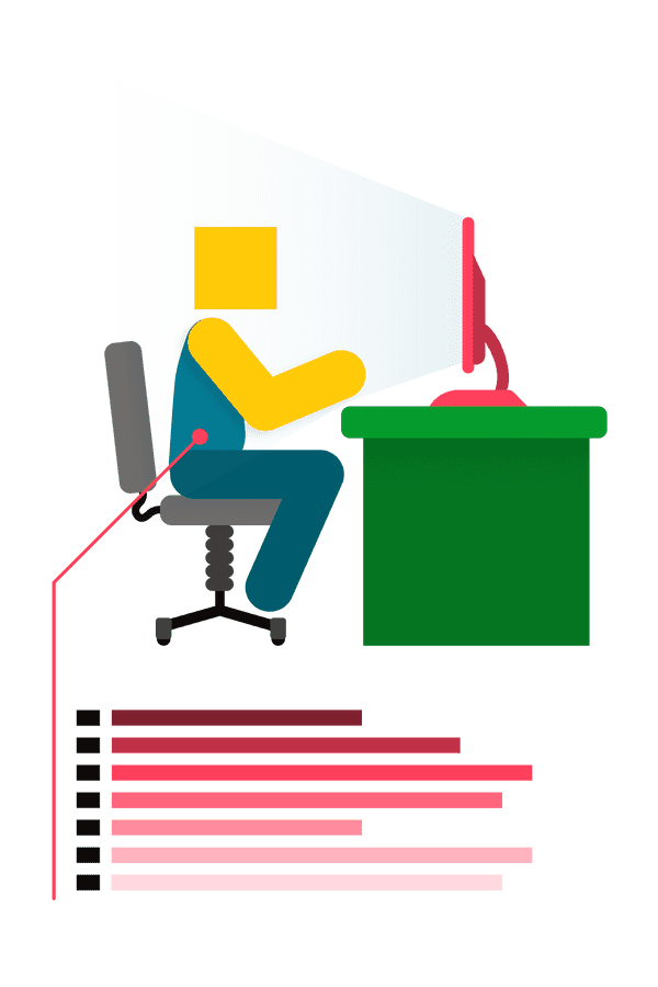 illustration of person on keyboard with graphs